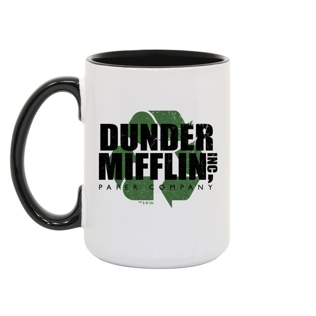 The Office Dunder Mifflin Recycle White and Black Mug
