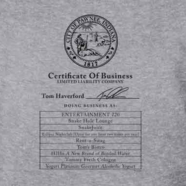Parks and Recreation Certificate of Business Crew Neck Sweatshirt