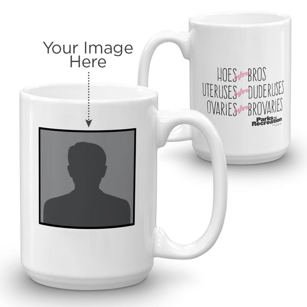 Parks and Recreation Personalized Hoes Before Bros White Mug
