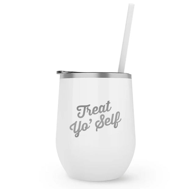 Parks and Recreation Treat Yo Self 12 oz Stainless Steel Wine Tumbler