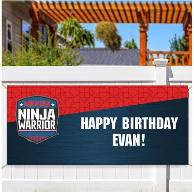 "Personalized American Ninja Warrior Banner - 30"" x 72"""