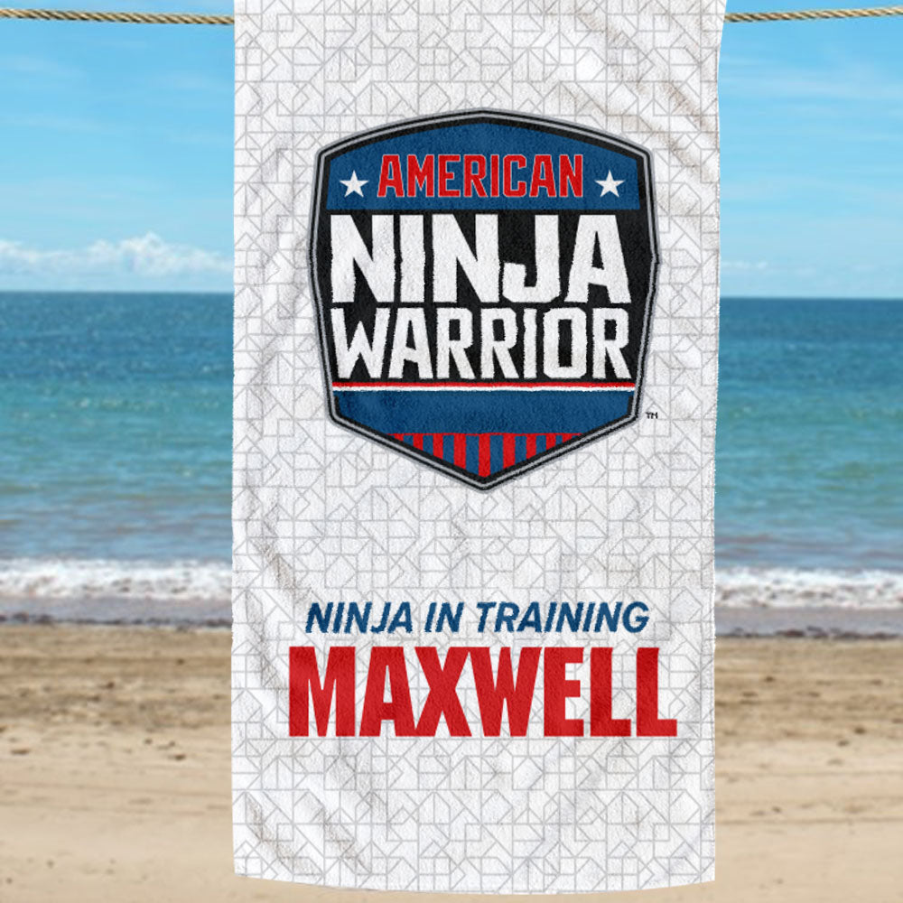 Personalized American Ninja Traditional Warrior In Training Beach Towel