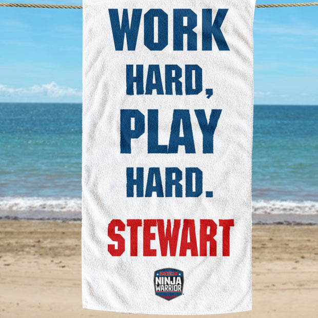 Personalized American Ninja Warrior Work Hard  Play Hard Beach Towel