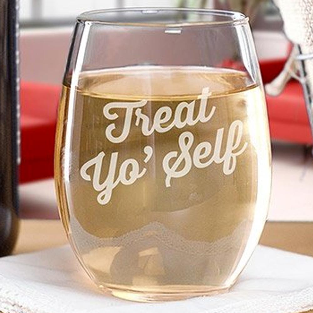 Parks and Recreation Treat Yo' Self Stemless Wine Glass-secondary-image