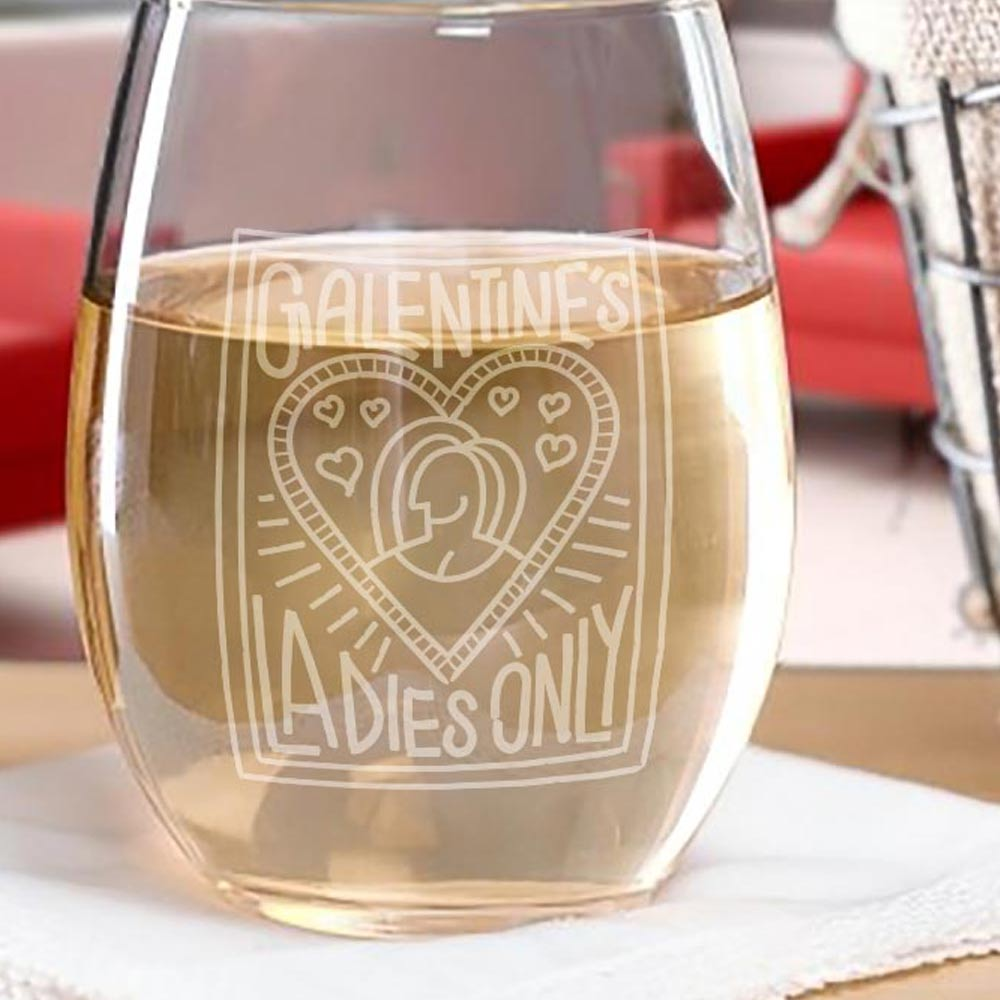 Parks and Recreation Galentine's Ladies Only Stemless Wine Glass-secondary-image