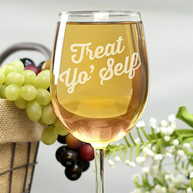 Parks and Recreation Treat Yo' Self Engraved Wine Glass