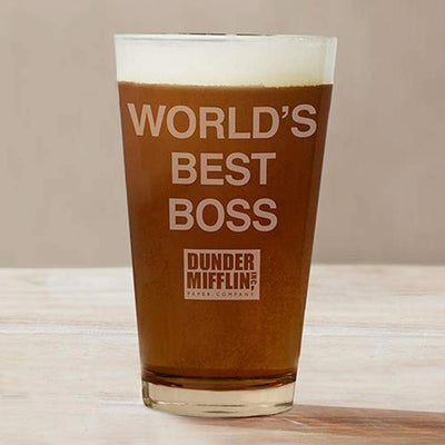 The Office World's Best Boss Dunder Mifflin Pint Glass