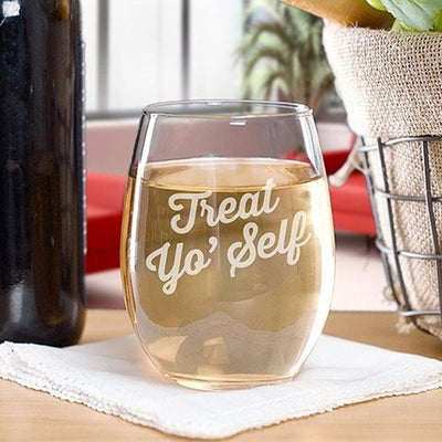 Parks and Recreation Treat Yo' Self Stemless Wine Glass