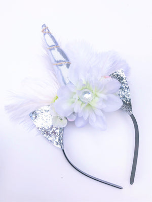 Bridal White Ostrich Feather Unicorn Headband