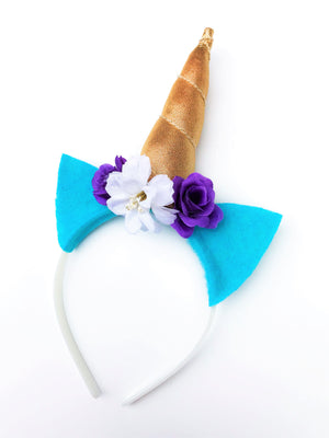 Teal Felt Unicorn Headband