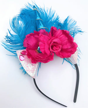 Teal Ostrich Feather Unicorn Headband
