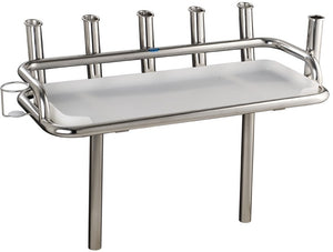 Stainless Steel Heavy duty bait station 6 x rod holders, 1 x can holder, 2 x skinny legs with sockets