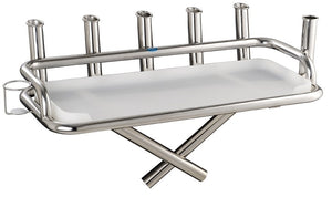 Stainless Steel Large bait station 6 x rod holders 1 x can holder with large folding legs