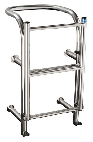 Stainless Steel 290mm wide 4 tread round top ladder