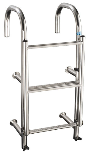 Stainless Steel 290mm wide 4 tread round step thru ladder