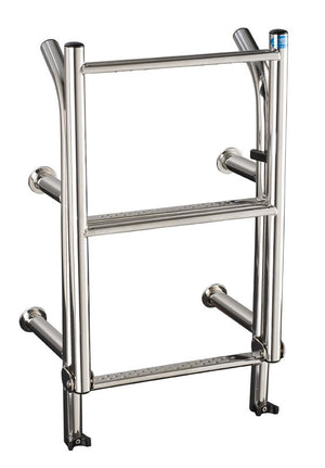 Stainless Steel 215mm wide 4 tread stern mount deck level ladder