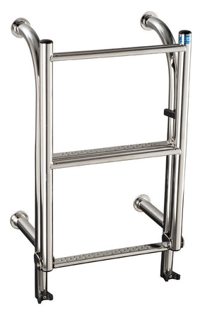 Stainless Steel 310mm wide 4 tread step thru bolt on ladder