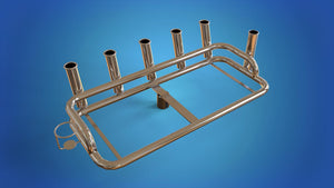 "Stainless Steel Large bait station 6 x rod holders 1 x can holder mounts on top of your 2"" 50.8mm ski pole"