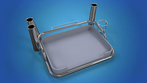 Stainless Steel Small bait station 3 x rod holders 1 x can holder mounts onto your A Frame ski pole