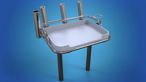 Stainless Steel Medium board 4 x rod holders, 1 x can holder 2 x folding legs