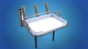 Stainless Steel Medium bait station with 4 x rod holders and 1 x can holder folding skinny legs & sockets