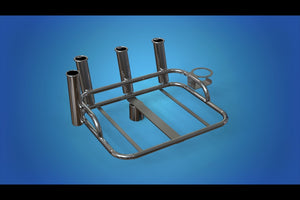 "Stainless Steel Medium bait station with 4 x rod holders and 1 x can holder mounts on top of your 2"" 50.8mm ski pole"