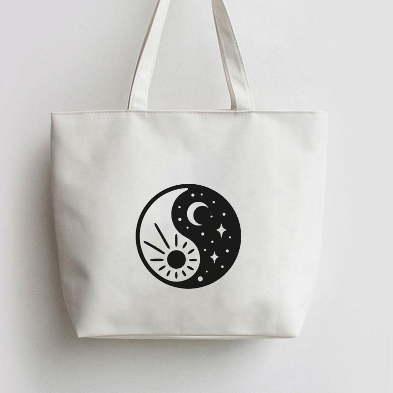 Yin Yang sun and moon Canvas Tote bag