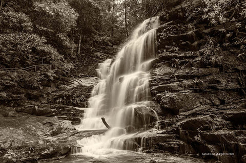 Sylvia Falls in Sepia; before the mist & drizzle returned (Landscape)