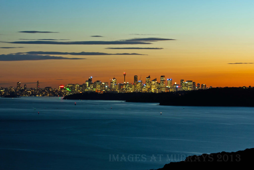 Dusk Scenic looking down Sydney Harbour to the CBD