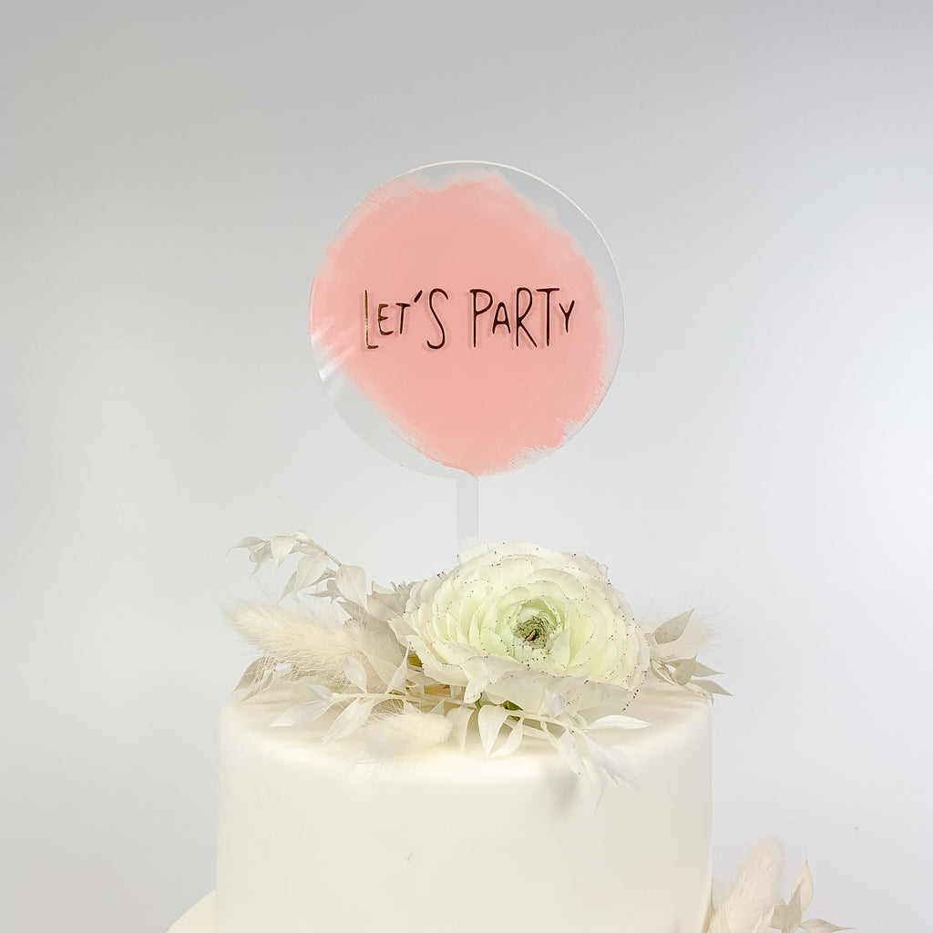Cake Topper Acryl rund - Let's Party
