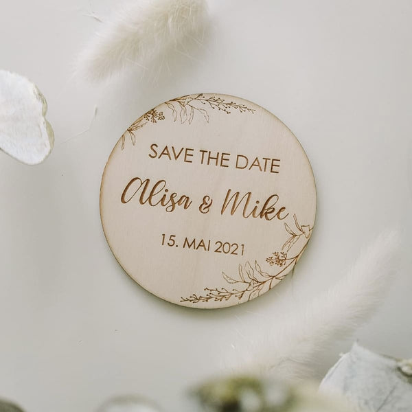 Save the Date, personalisiertes Holzmagnet