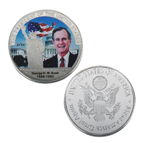 Commemorative George H. W. Bush Silver & Colored Coin