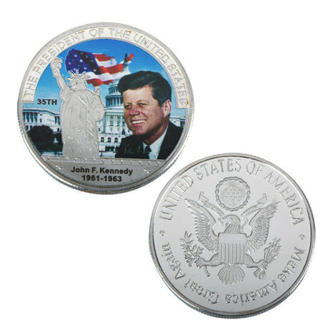 Commemorative John F. Kennedy Silver & Colored Coin