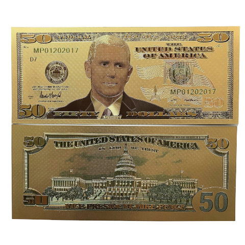 Two Commemorative Mike Pence Gold $50 Bills