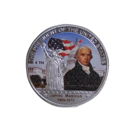 Image of Commemorative James Madison Silver & Colored Coin