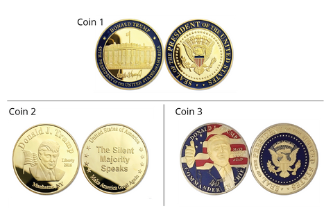 3 Piece Commemorative Trump Freedom Coin Set