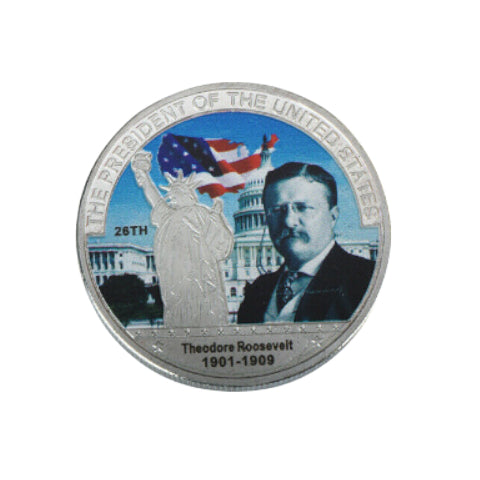 Image of Commemorative Theodore Roosevelt Silver & Colored Coin