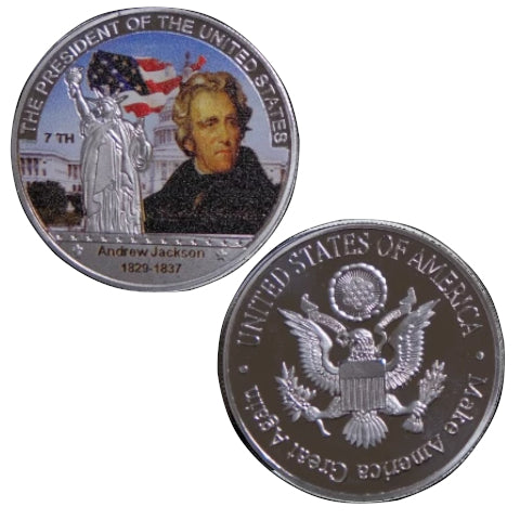 Image of Commemorative Andrew Jackson Silver & Colored Coin