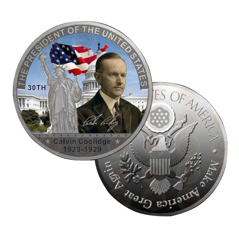 Image of Commemorative Calvin Coolidge Silver & Colored Coin