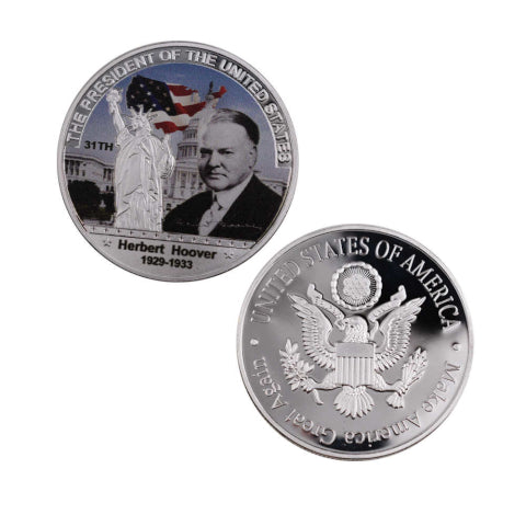 Commemorative Herbert Hoover Silver & Colored Coin
