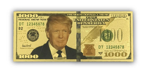 Image of Gold Donald Trump $1000 Bills