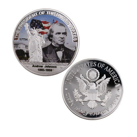 Commemorative Andrew Johnson Silver & Colored Coin