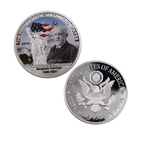 Commemorative Benjamin Harrison Silver & Colored Coin