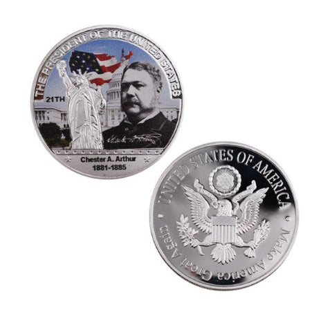 Image of Commemorative Chester A. Arthur Silver & Colored Coin