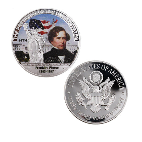 Image of Commemorative Franklin Pierce Silver & Colored Coin