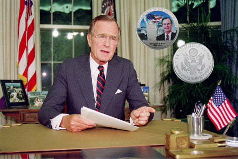 Image of Commemorative George H. W. Bush Silver & Colored Coin