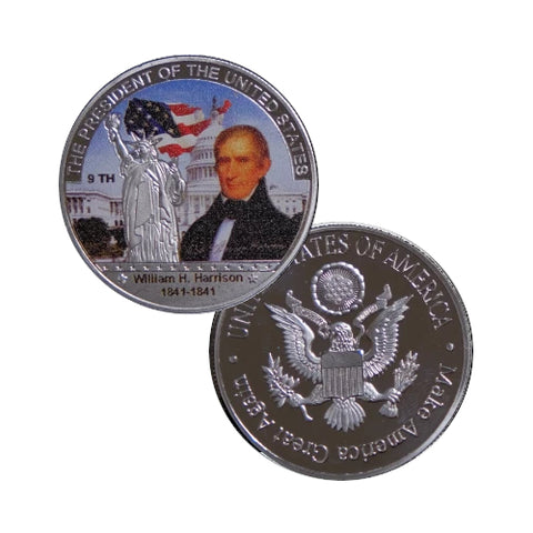 Image of Commemorative William Henry Harrison Silver & Colored Coin