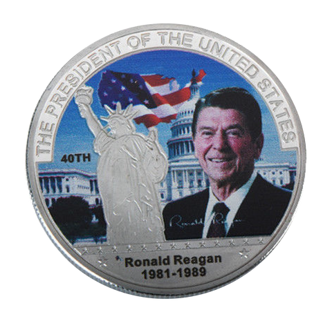 Image of Commemorative Ronald Reagan Silver & Colored Coin