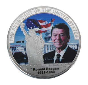 Commemorative Ronald Reagan Silver & Colored Coin