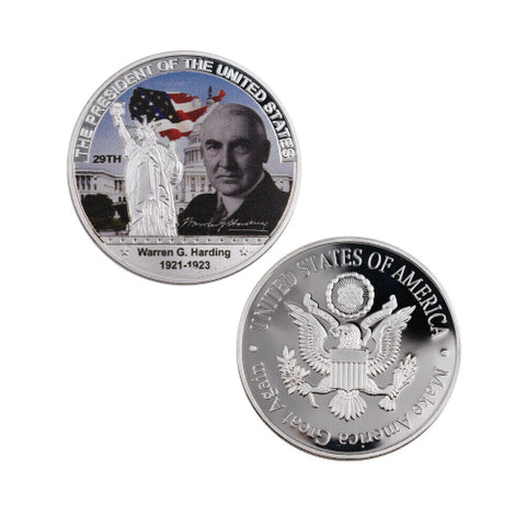 Commemorative Warren G. Harding Silver & Colored Coin